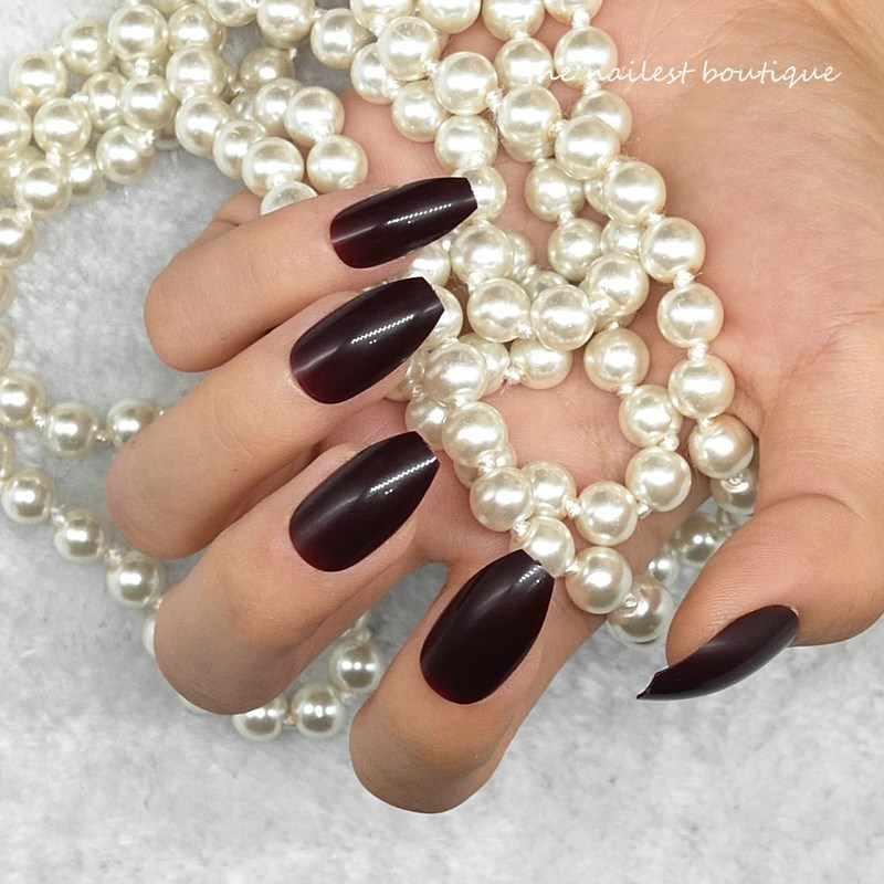 24pcs Detachable Coffin Shape Chocolate False Nails Fake Full Nails Short Ballerina Nail Tips Extension Clear Fake Nails Designs