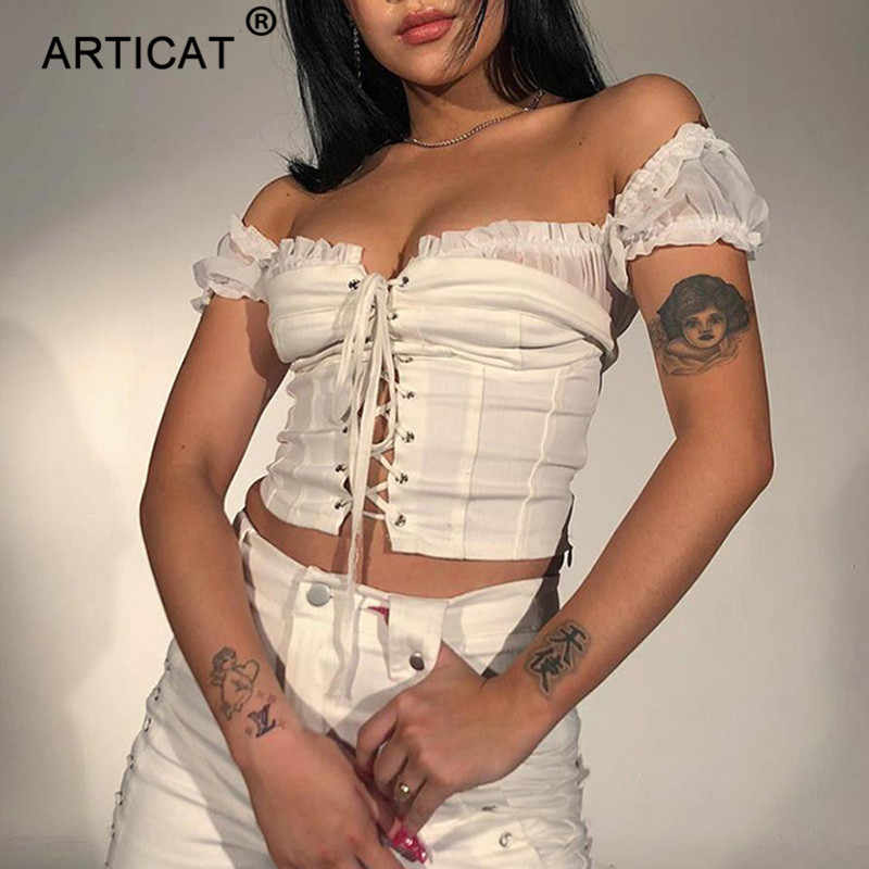 Articat Ruches Sexy Crop Top Vrouwen Shirt Off Shoulder Lace Up Cropped Zomer Top Hollow Out Solid Beach Casual Dames tops 2019