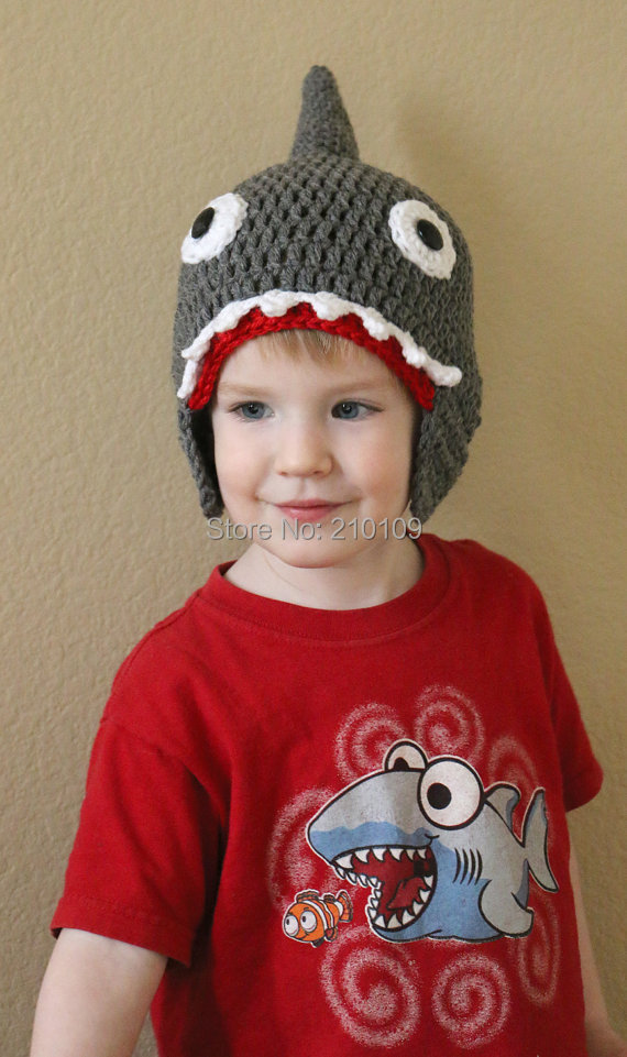 705175e66a3 Mr.Kooky Autumn Winter Handmade Crocheted Children Shark Attack Cute Cool  Beanie Boy Girl Caps Halloween Funny Hats Shower Gifts-in Skullies   Beanies  from ...