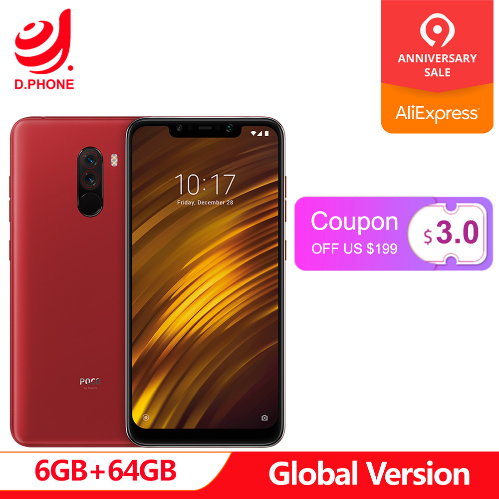 Global Versão Xiaomi POCOPHONE F1 POCO F1 64 6 GB de RAM GB ROM Snapdragon 845 6.18