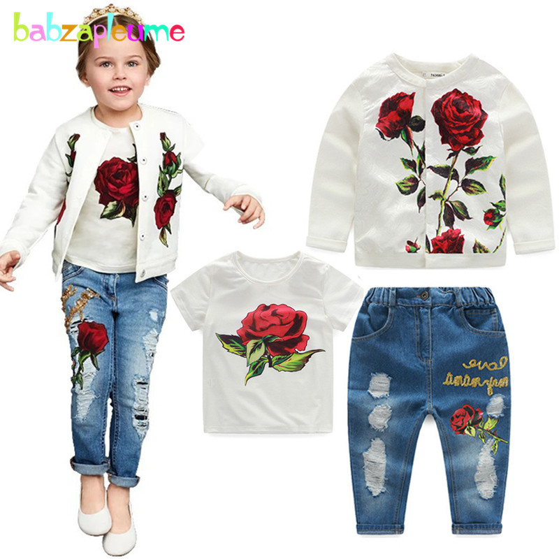3PCS / 3-10Years / Spring Autumn Baby Girls Boutique Clothing Set - Ropa de ninos