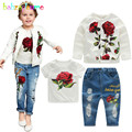 3PCS/3-10Years/Spring Autumn Baby Girls Boutique Clothing Set Flower White Kids Jacket+T-shirt+Jeans For Children Clothes BC1253