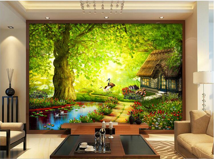 Wall Murals Cheap online get cheap fairies forest 3d wall mural -aliexpress