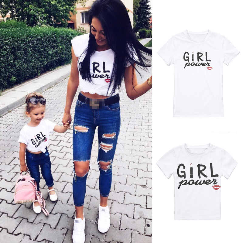 Girl POWER Summer Mother And Daughter Family Matching T Shirt Cotton T-Shirt Clothes