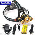 8000 Lumens XML T6 2R5 Zoom Headlamp 4 Mode LED Lights Camping Outdoor Headlamps Light +AC Car Charger+18650 5000mah Battery