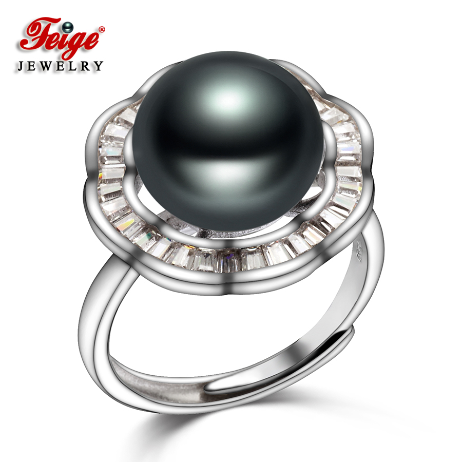 Vintage Flower 925 Sterling Silver Big Pearl Ring for Women 11-12MM Black Freshwater Pearl Party Jewelry Adjustable Rings FEIGEVintage Flower 925 Sterling Silver Big Pearl Ring for Women 11-12MM Black Freshwater Pearl Party Jewelry Adjustable Rings FEIGE