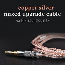 Mixed Upgraded 8 Core Copper Earpho Silver Cable 2pin/Mmcx Connector Use For KZ ZS4/ZS5/ZS6/ZSA/ED16/ ZSN/ZST/ES4/ZS10/AS10/BA10 ak audio lz 8 core 6n upgraded single crystal copper cable 4 4 2 5 3 5mm balanced cable with mmcx 2pin