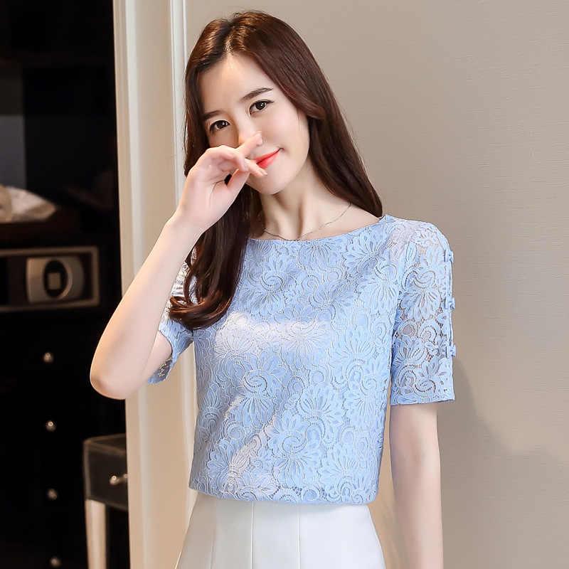 Moda dantel kadın bluzlar gömlek yaz kısa kollu kadın üstleri hollow dantel bluz kadın gömlek kadın Blusas femininas 0361 40