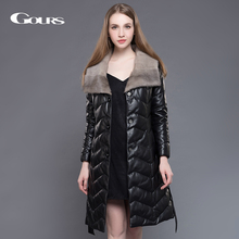 Gours Women's Genuine Leather Duck Down Coat Black Sheepskin Long Overcoats Winter Warm Parka with Mink Fur Collar Plus Size 5XL