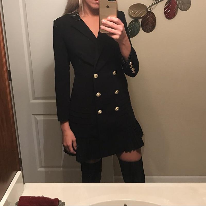 États-unis nouvelles femmes 2018 classique lion double-boutonnage slim costume robe plissée robes qualité