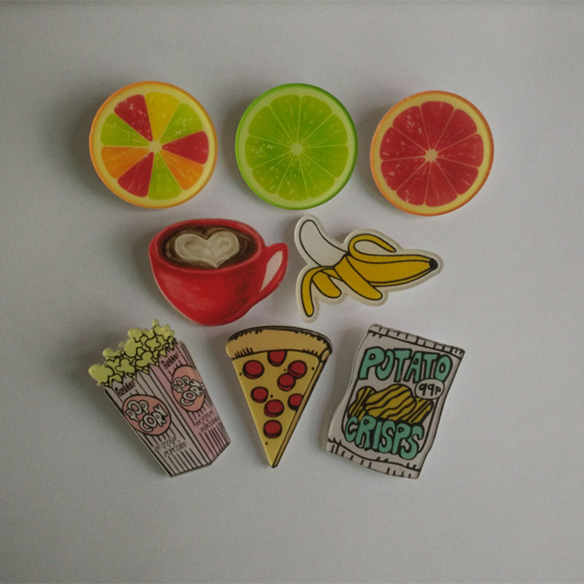 Cute Acrylic Badges Pins For Clothes/Bag/Shoe Decorating Badge Backpack Fruit Pizza Pin Button Acrylic Brooch