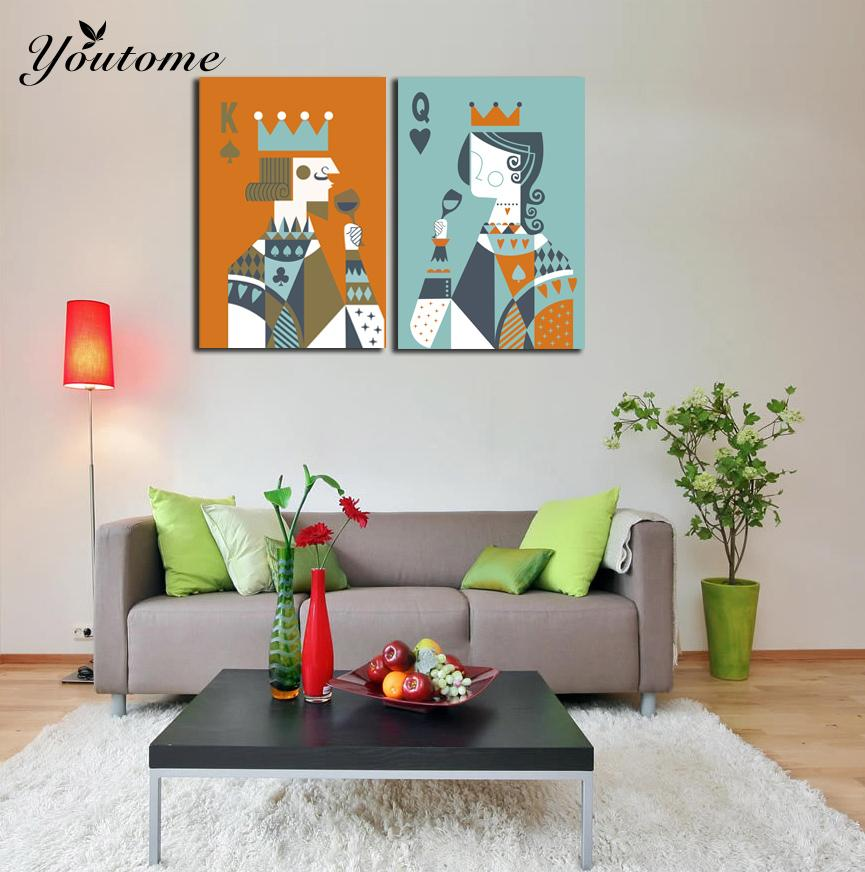 2 Pieces Picture Poker King And Queen Toast Painting