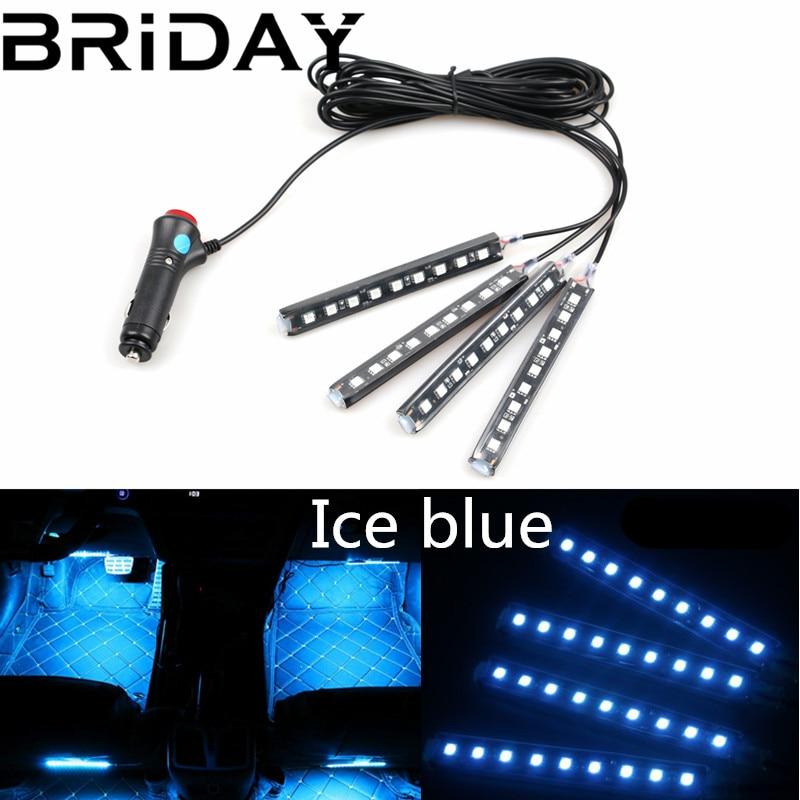 BRIDAY 4pcs/set Car LED Strip 10W Car Interior Decorative Atmosphere Strip Auto Pathway Floor Light car-styling 12V