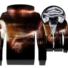 Supernatural Hoodie Men 3D Jackets Mens SPN TV Show Sweatshirt 2018 Winter Thick Fleece Warm Zip up Coat Hip Hop Sportswear 5XL