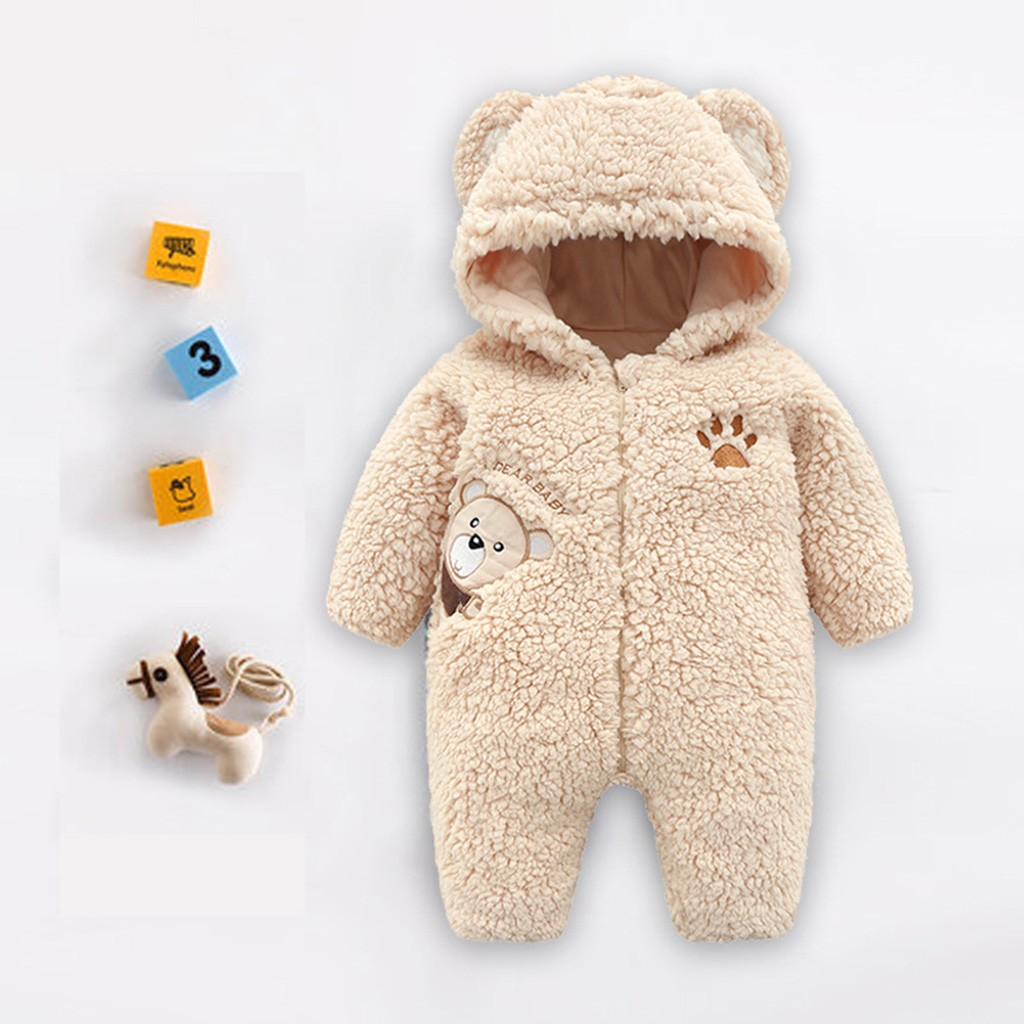 Newborn Baby Boys Girls Keep Warm Zipper Cartoon Hooded   Romper   Jumpsuit