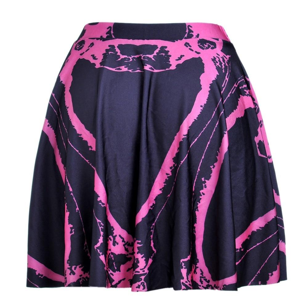 Hot Sell Women Short High Waist Skirt Pink Skeleton Pleated Mini Skirt Spring Summer Mini Skirt