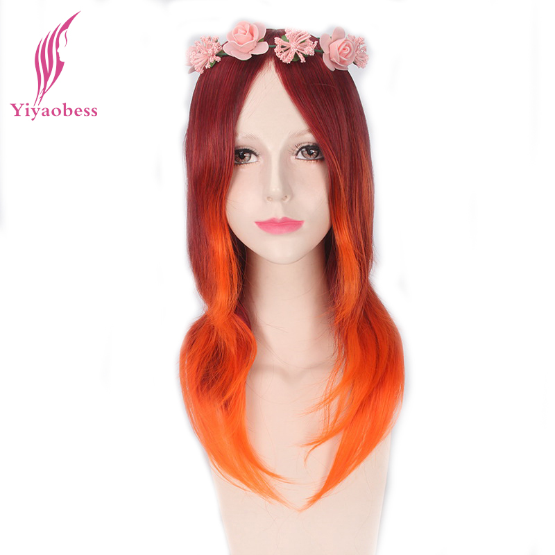 Yiyaobess 50cm Straight Long Red Orange Ombre Wig Cosplay Costume Heat Resistant Synthetic Hair Wigs For Women
