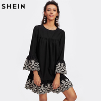 SHEIN Vine Embroidered Ruffle Cuff And Hem Scalloped Shift Dress Black Long Sleeve Cut Out Button