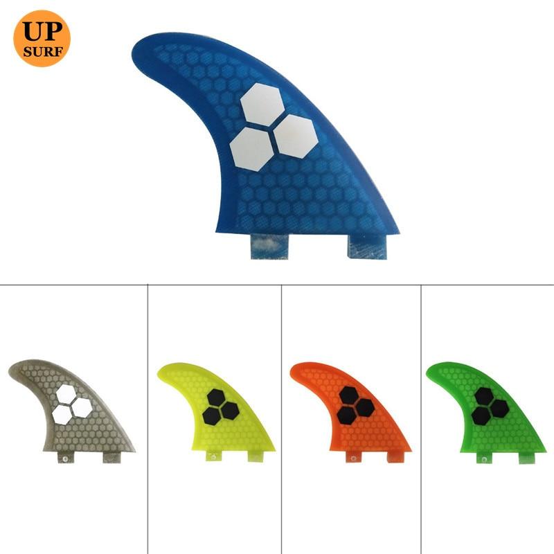 Aletas DO FCS G7 orange Azul verde amarelo cinza de Fibra de Fibra De Vidro Do Favo de mel de Surf Surfboards Aletas 3 peças por conjunto