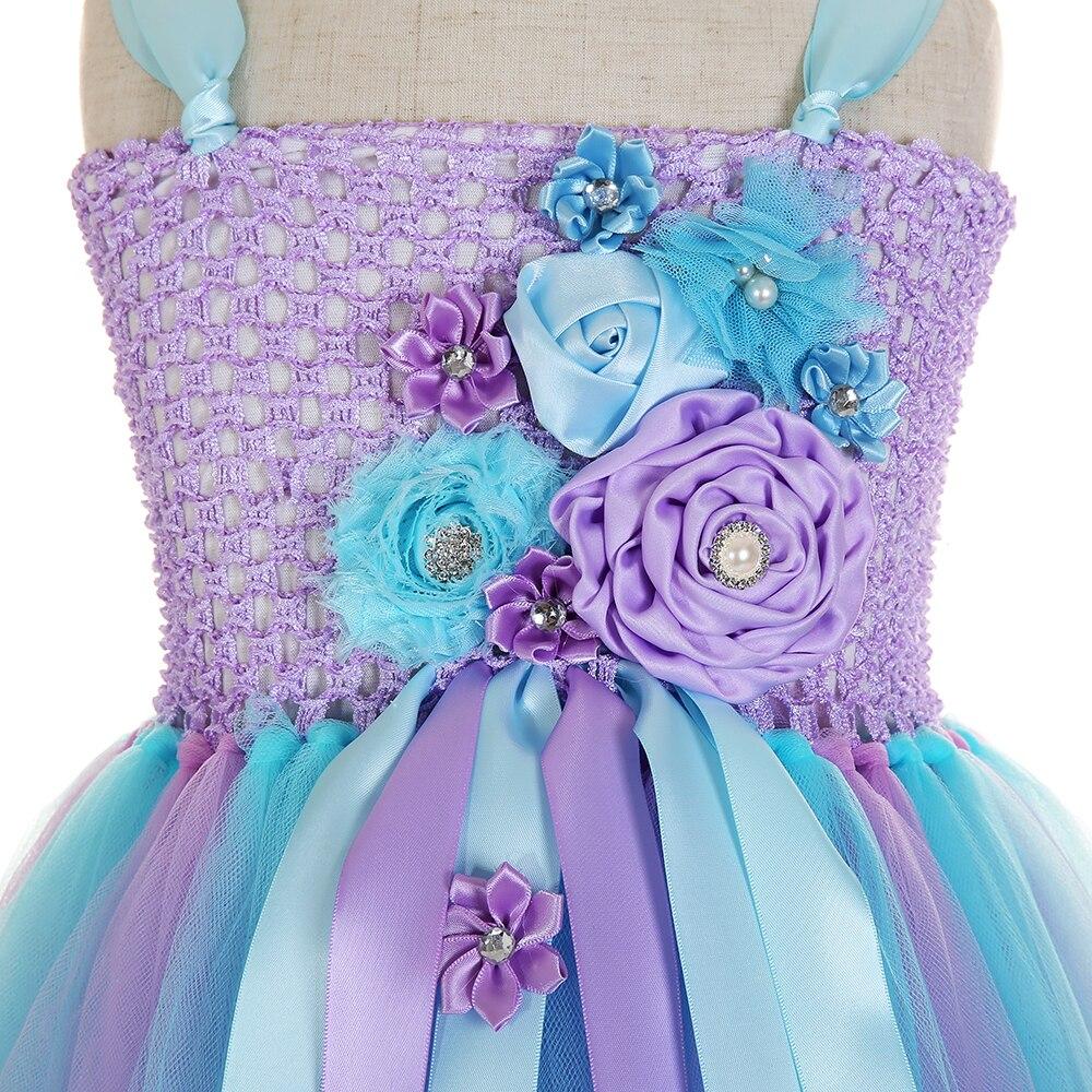 Elegant Purple Top Blue Mesh Tulle Tutu Dress Princess Kids Unicorn Lol Dress for Girl Ankle Length Flower Girls Dresses Age 13 (6)