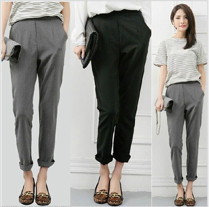 2015 Fashion Korean Women 39 S Slim Spliced Elastic Pencil Pants Loose Harem Trousers Elegance