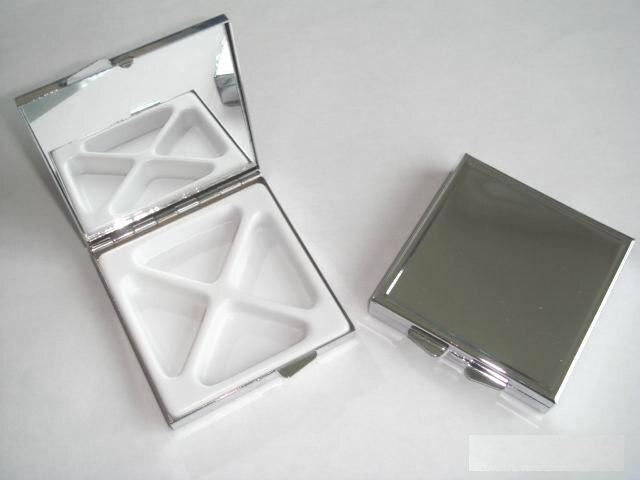 100 шт. квадратный Pill Коробки Бланк DIY Металл pill контейнер коробка для хранения 4 отделения-бесплатная доставка