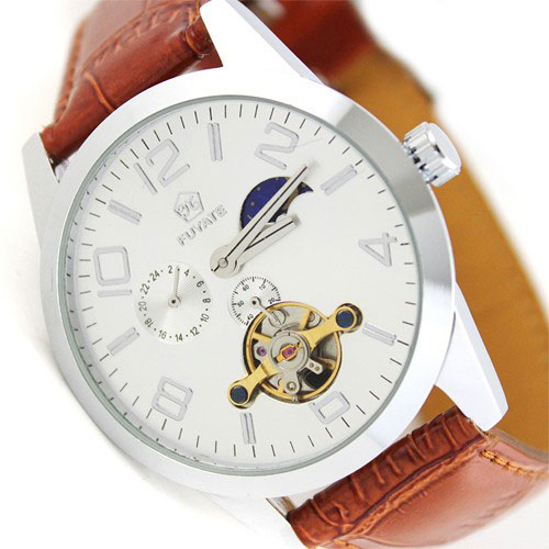 Fashion 2018 Luxury Wholesale Moonphase Sport Automatic Mechanical Mens Tourbilon 24hrs Wrist Watch Leather
