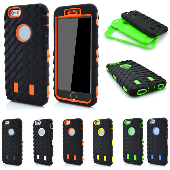 3 In 1 Tire Dual Layer Defender Apple Iphone 6 6S Plus 5 5S Hard Plastic Heavy Duty Armor Hybrid Phone Back Cover Case
