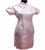 Vintage Light Pink Chinese Female Satin Cheongsam Sexy Mini Qipao Novelty Costume Oversize S M L
