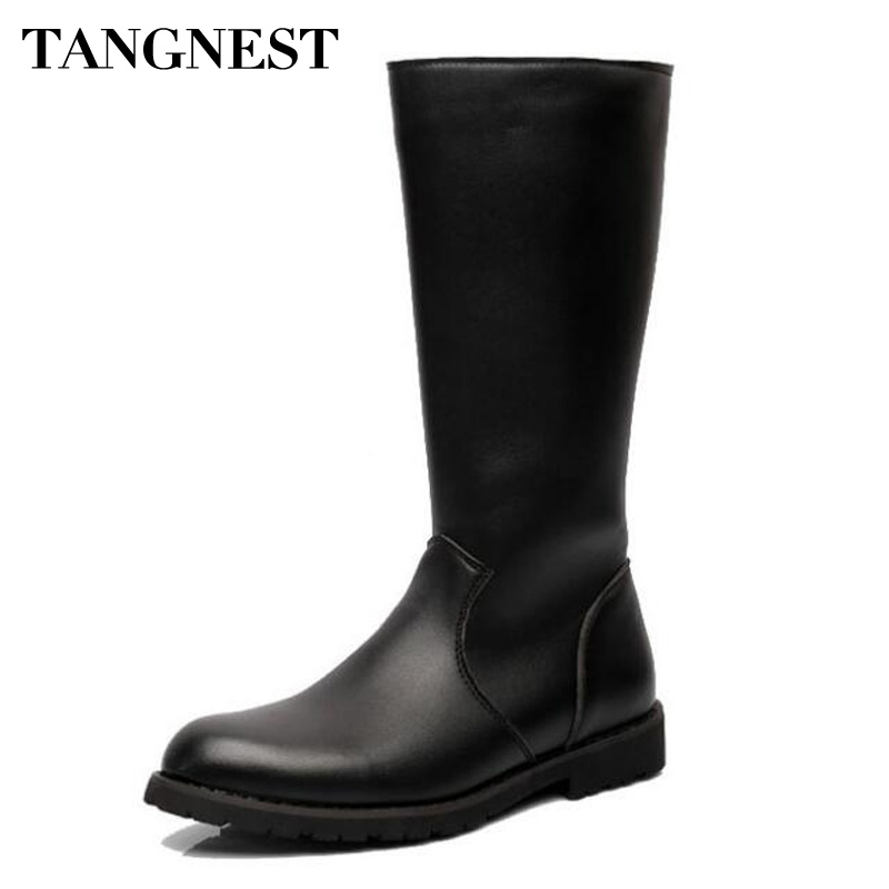 Tangnest NEW Autumn Men Motorcycle Boots Cow Split Leather Mid-Calf Boots For Male Pointed Toe High Top Shoes Size 37~45 XMX853