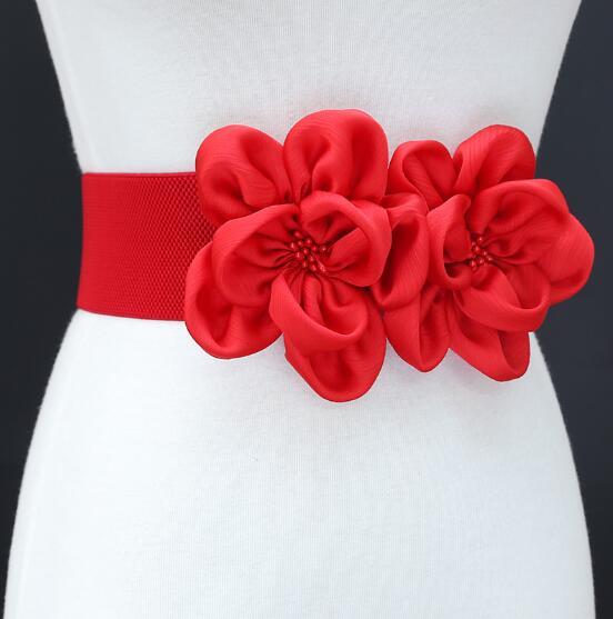 Women's Runway Fashion Vintage Flower Elastic Cummerbunds Female Dress Corsets Waistband Belts Decoration Wide Belt R1460