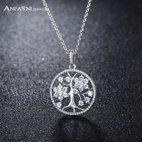 ANFASNI New Fashion Luxurious 925 Sterling Silver Tree Of Life Necklaces Pendants Top Quality Jewelry Gift