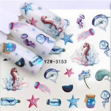 FWC 1PC Nail Stickers Animal Series Water Decal Animal Flower Plant Pattern 3D Manicure Sticker Nail Art Decoration(China)