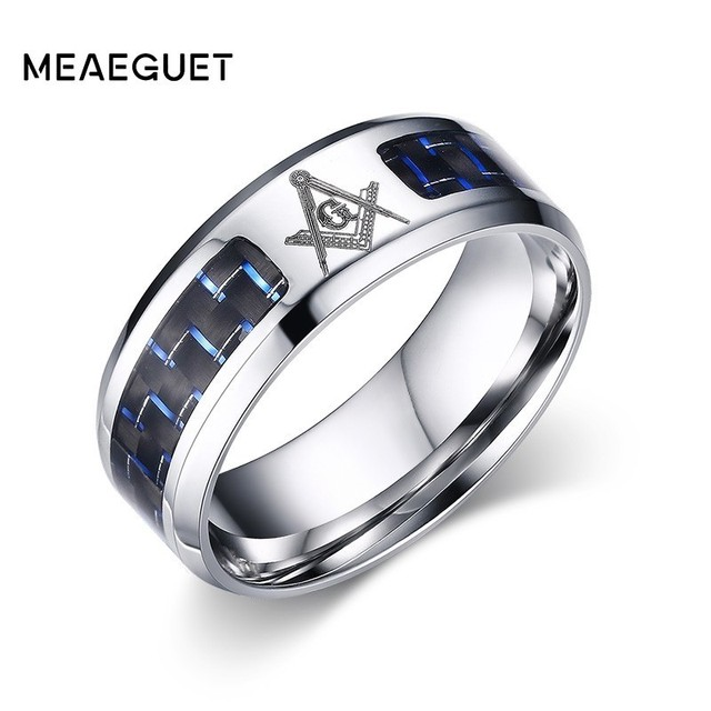 Meaeguet Cool Blue Carbon Fiber Inlay Masonic Rings For Men Stainless Steel Beveled Edge Wedding Ring Bands USA Size 4-12