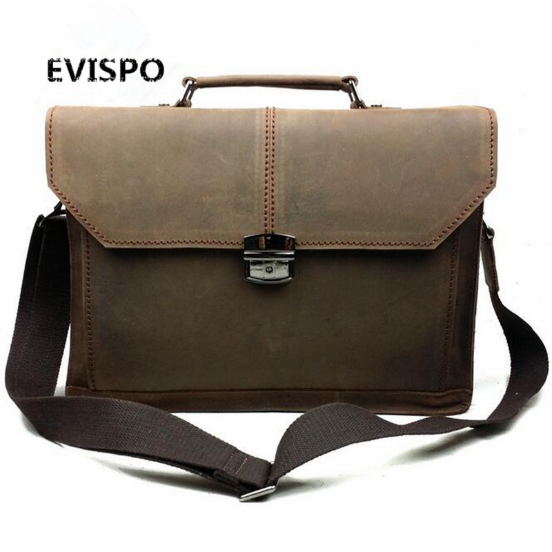 2017 Men Bags Crazy Horse Leather Casual Briefcase Portfolio Genuine Leather Man Business Bag Messenger Shoulder Laptop Bag crazy horse genuine leather men bags vintage loptop business men s leather briefcase man bags men s messenger bag 2016 new 7205