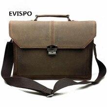 2017 Men Bags Crazy Horse Leather Casual Briefcase Portfolio Genuine Leather Man Business Bag Messenger Shoulder Laptop Bag