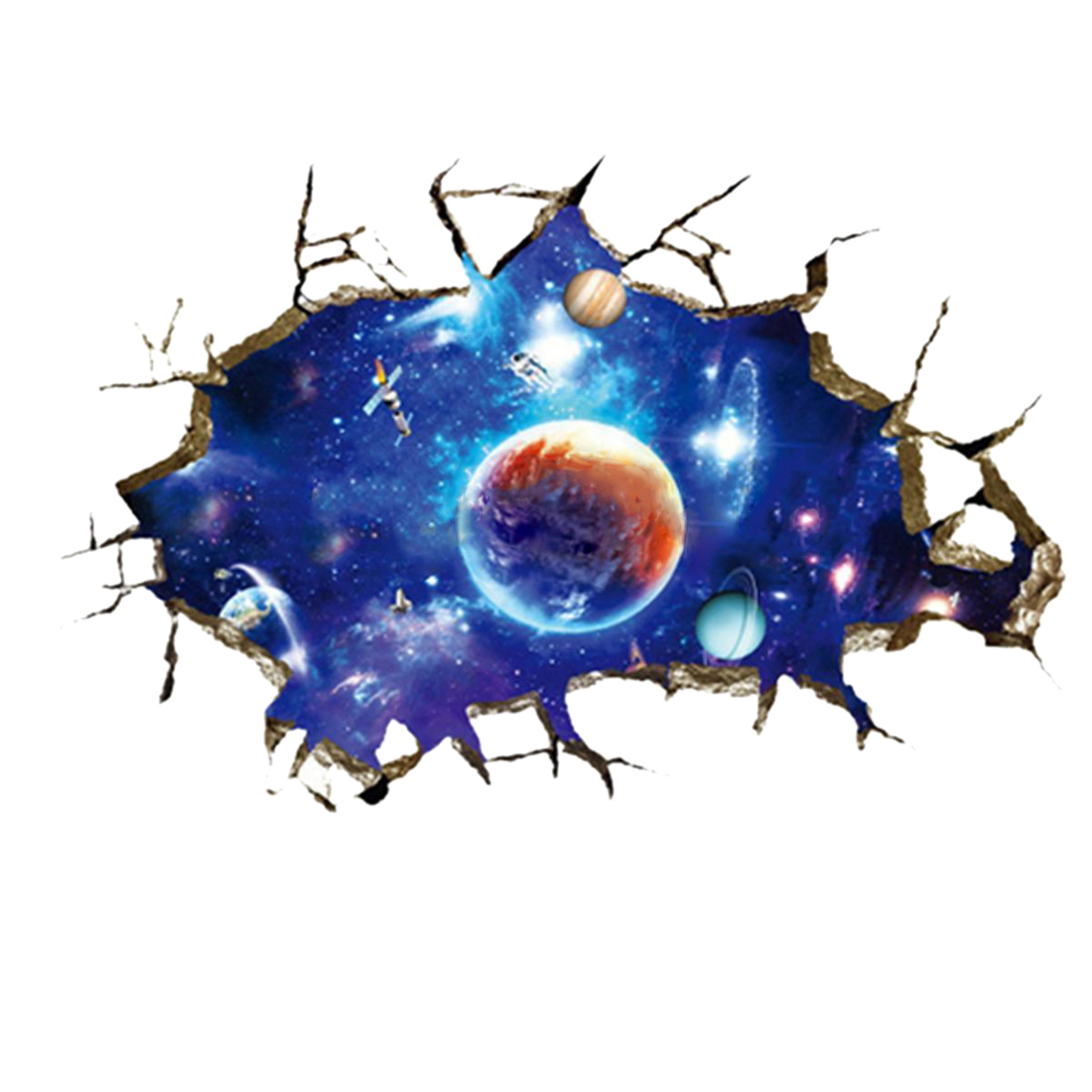 3D Outer Space Planet Wall Stickers Home Decor Mural Art Wall Decals Removable Colorful