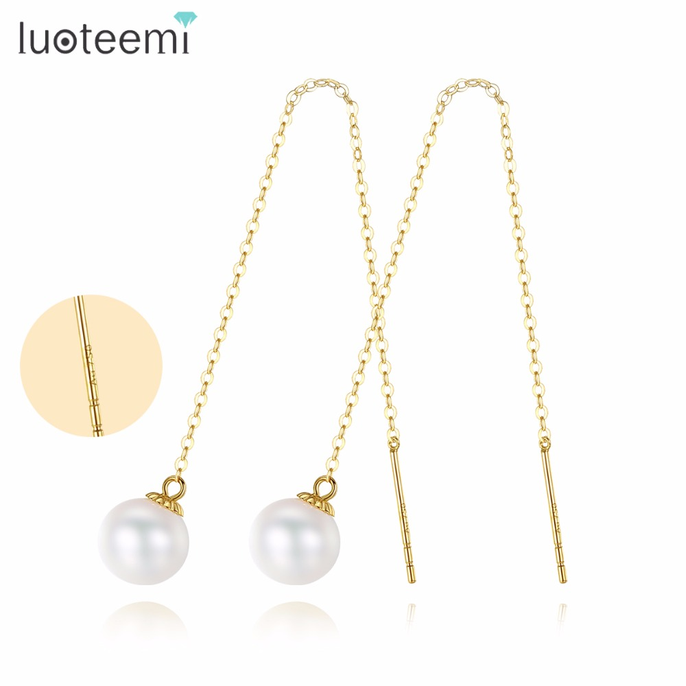 LUOTEEMI Drop Earrings Gold Silver Freshwater Natural Pearl Two Long Chain New Luxury Vintage Style Ear Cuff Women Accessories faux pearl rhinestoned cartilage ear cuff set