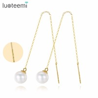 LUOTEEMI Drop Earrings Gold Silver Freshwater Natural Pearl Two Long Chain New Luxury Vintage Style Ear