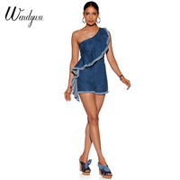 Wendywu Plus Size Summer One Shoulder Playsuit Women Denim Romper Ruffles Sleeveless Short Jumpsuit Exaggerated Frill