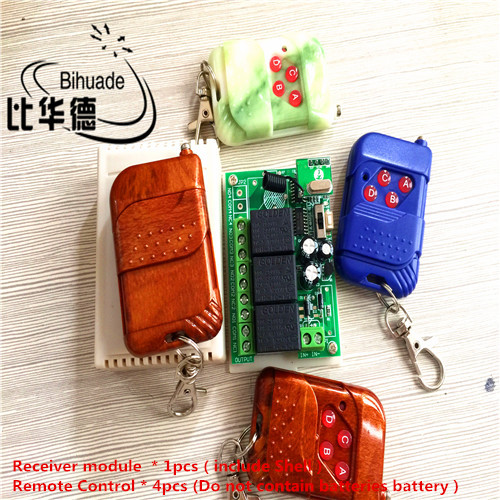 315 Mhz Smart Home DC12V 4CH Wireless Remote Control Relay Receiver Switch Module and 4pcs RF Transmitter 315Mhz Remote Controls qiachip 4pcs rf transmitter 433 mhz remote controls 433mhz wireless remote control switch dc 12v 1ch rf relay receiver module