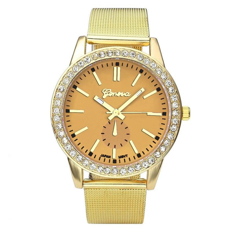 10 Colors Waterproof Dress Luxury Geneva Watches Women Stainless Steel Band Roman Rhinestone Quartz Wrist Watch Relojes Mujer