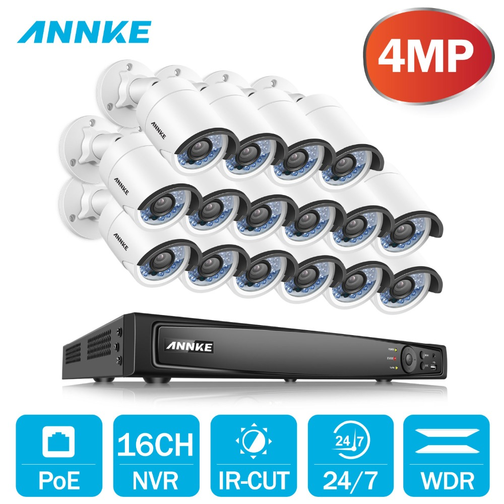 ANÃO 16CH 6.0MP POE Sistema De Segurança De Vídeo Com 16pcs 4MP 4 milímetros 2688x1520P À Prova de Intempéries Night Vision kit NVR Onvif WDR câmeras P2P