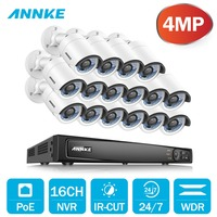 ANNKE 16CH 6.0MP POE Video Security System With 16pcs 4mm 4MP 2688x1520P Weatherproof Night Vision Cameras P2P Onvif WDR NVR Kit