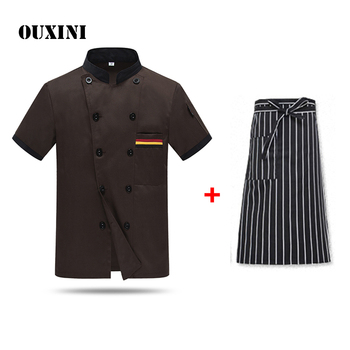 summer Kitchen Chef Uniform Bakery Food Service Ultra-thin Breathable Double Breasted restaurant uniform Chef Jacket Send apron unisex chef jacket kitchen restaurant uniform shirt summer chef cook shirt apron hat food service bakery hotel work clothes