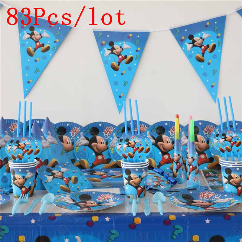 83Pcs Kids Boys Baby Mickey Mouse Cartoon Birthday Decorative Party Event Supplies Favor Items For Children 10 People