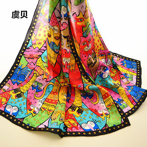 Image 2 - Colorful cats long scarf women sunscreen soft thin printed natural silk scarves wrap shawl foulard femme bandana gift for ladies