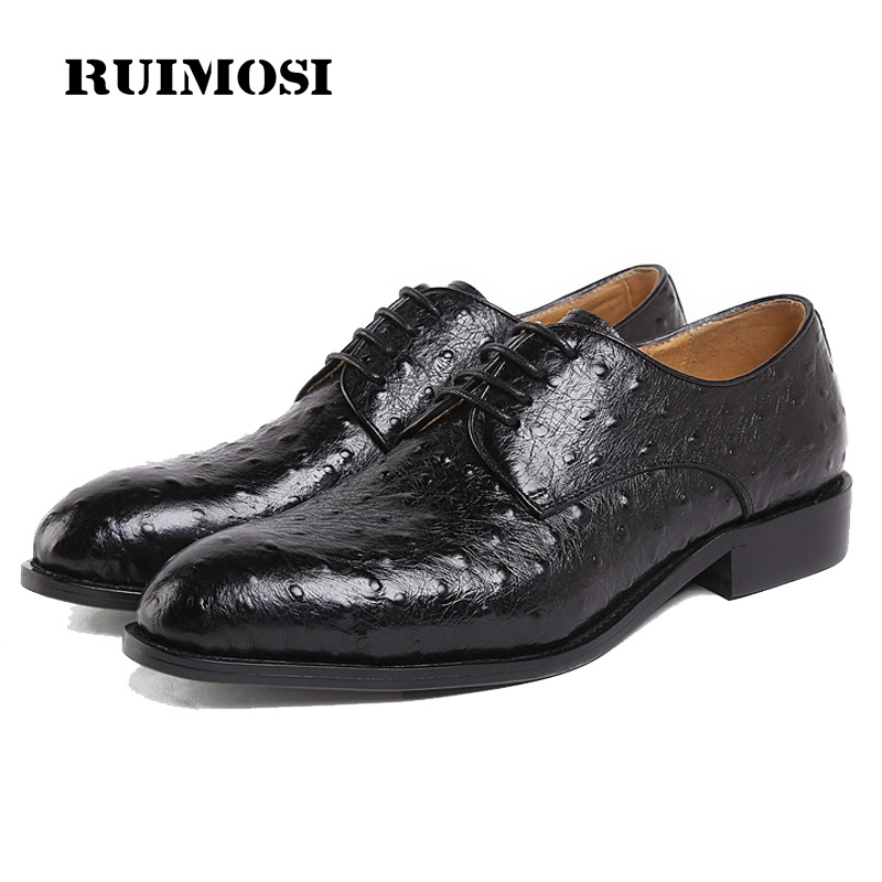 RUIMOSI Round Toe Ostrich Formal Man Dress Flats Shoes Genuine Leather Oxfords Luxury Brand Men's Wedding Bridal Footwear NC76