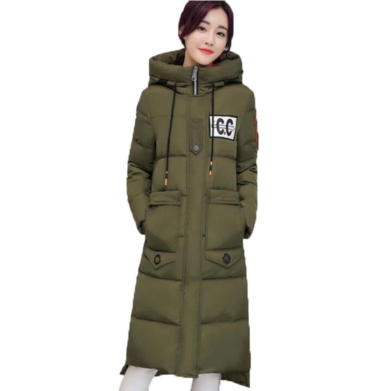 ФОТО 2016 Womens Jackets The New Winter Female X-Long Thick Cotton Coat Wadded Jacket Women With Hood Plus Size PW0811
