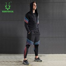Vansydical Running Set Men's Gym Clothes Elastic Compression Tights Fitness Workout Sports Jogging Suits Sportswear 2-5pcs